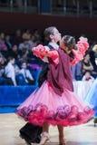 Gritcan Artem and Zagrebailova Yana perform Juvenile-1 Standard European program Stock Photos