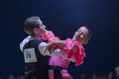 Gritcan Artem and Zagrebailova Yana perform Juvenile-1 Standard European program Royalty Free Stock Images
