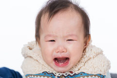 Griterío asiático del bebé Imagen de archivo libre de regalías