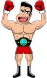 Griterío de la correa del campeonato del ganador del boxeador aislado Imágenes de archivo libres de regalías