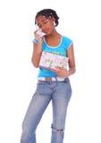 Griterío de la muchacha del afroamericano Imágenes de archivo libres de regalías
