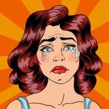 Griterío de la mujer Mujer agotada Mujer en la depresión Arte pop Imagen de archivo libre de regalías