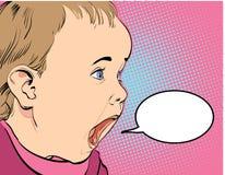 Griterío del bebé de la historieta Imagen de archivo