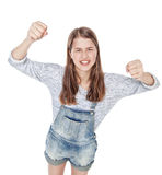 Griterío enojado de la muchacha de la moda de los jóvenes aislado Visión superior Foto de archivo