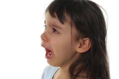 Griterío extremadamente triste de la niña Fotos de archivo libres de regalías