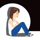 Griterío triste de la muchacha del adolescente stock de ilustración
