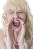 Griterío de griterío asustada de la mujer joven Imagen de archivo libre de regalías