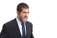 Grito árabe enojado del hombre de negocios Imagen de archivo libre de regalías