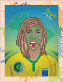 Grito brasileño del fanático del fútbol Fotografía de archivo libre de regalías