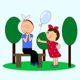 Grito com um menino da dor de dente Menina com um balão Imagens de Stock Royalty Free