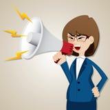 Grito da mulher de negócios dos desenhos animados para fora com megafone ilustração do vetor