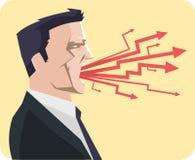 Grito de griterío del hombre de negocios enojado Imagenes de archivo