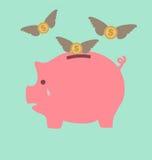 Grito de la hucha cuando vea los dólares el irse volando Foto de archivo