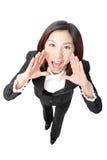 Grito de la mujer de negocios Imagen de archivo libre de regalías