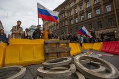 Grito de los partidarios de la oposición durante una protesta Fotos de archivo libres de regalías