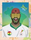 Grito del fanático del fútbol de Ghana Fotos de archivo libres de regalías