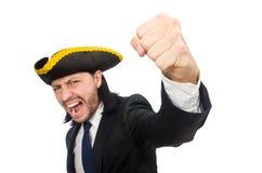 Grito del hombre de negocios del pirata aislado en blanco Imagen de archivo libre de regalías