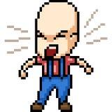 Grito do homem da arte do pixel do vetor ilustração stock