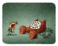 Grito en un teléfono Imagen de archivo libre de regalías