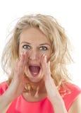 Grito enojado de la mujer Foto de archivo libre de regalías