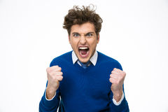 Grito enojado del hombre de negocios Fotos de archivo libres de regalías