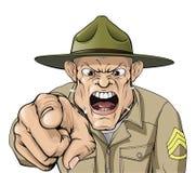 Grito enojado del sargento de taladro del ejército de la historieta Imagen de archivo libre de regalías