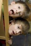 Grito feliz de los hermanos de gemelos Imagenes de archivo