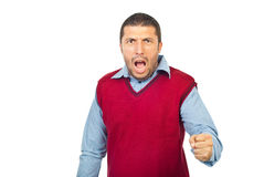 Grito furioso del hombre Foto de archivo