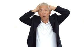 Grito mayor asiático del hombre de negocios y pérdida abstracta enojada en las RRPP Fotos de archivo