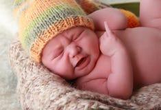 Grito recién nacido del bebé Foto de archivo libre de regalías