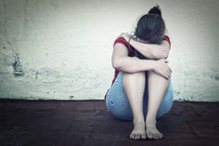 Grito triste da mulher Foto de Stock Royalty Free