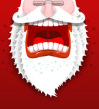 Gritos enojados de Santa Claus Papá Noel infeliz con la barba blanca grande Imagen de archivo