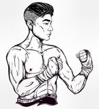Gritty Asian boxer or Muay Thai martial artist. Stock Images