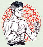 Gritty Asian boxer or Muay Thai martial artist. Royalty Free Stock Photography