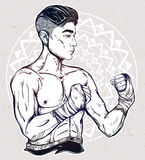 Gritty Asian boxer or Muay Thai martial artist. Royalty Free Stock Photos