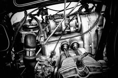 Gritty black and white motorcycle engine Royalty Free Stock Photo