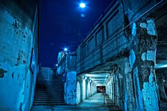Gritty dark Chicago city stairway at night. Royalty Free Stock Photo