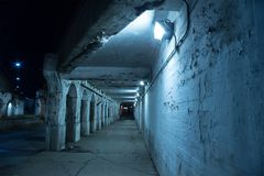 Gritty dark Chicago city street at night. Stock Photo