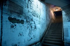 Gritty dark Chicago city stairway at night. Stock Photos