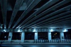 Gritty dark Chicago highway bridge at night. Stock Photos