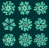 Gritty green star shapes, design elements with hatched parts Stock Photography