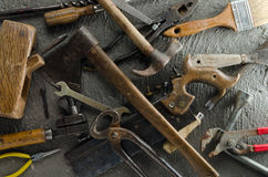 Gritty Hand Tools. And other bits of grungy hardware Royalty Free Stock Photos