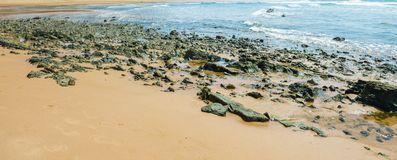Gritty rocks by the shoreline with small  pools. Gritty rocks by the shoreline with small salt water pools Stock Photo