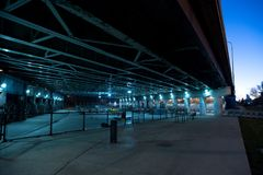 Gritty and scary city skate park at night in Chicago. Gritty and scary city skate park at night in urban Chicago Stock Photography