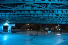 Gritty and scary city skate park at night in urban Chicago. Gritty and scary city skate park in urban Chicago at night Royalty Free Stock Photography