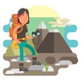 Gritty woman hiking in hills. Strong and gritty woman with backpack traveling nature and hiking in mountains Royalty Free Stock Images
