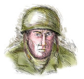 Gritty World war two soldier Stock Image