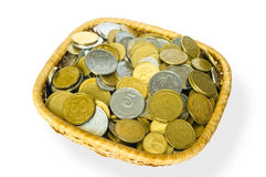 Grivna Coins in a Basket Stock Image