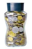 Grivna Coins in a Glass Jar Stock Photos