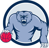 Grizzly Bear Angry Dribbling Basketball Cartoon Royalty Free Stock Photos